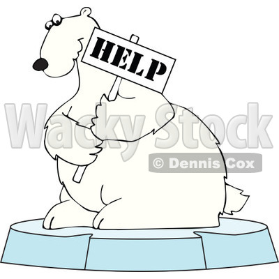 Clipart Polar Bear Holding A Help Sign On An Ice Floe - Royalty Free Vector Illustration © djart #1110849
