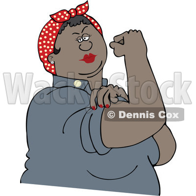 Clipart Chubby Black Rosie The Riveter Flexing Her Strong Muscles - Royalty Free Vector Illustration © djart #1110899