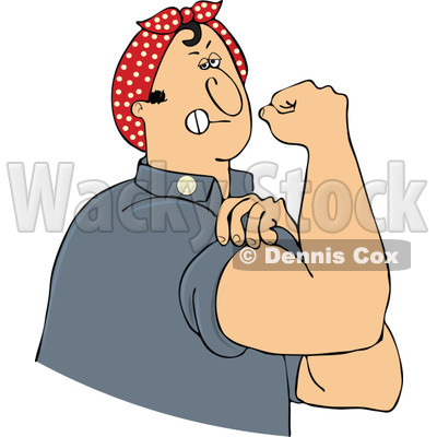 Clipart Chubby Rosie The Riveter Man Flexing His Muscles - Royalty Free Vector Illustration © djart #1110925