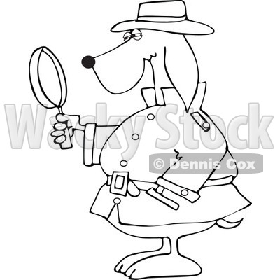 Clipart Outlined Private Detective Dog Using A Magnifying Glass - Royalty Free Vector Illustration © djart #1111307