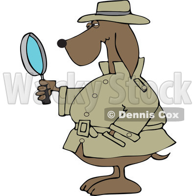 Clipart Private Detective Dog Using A Magnifying Glass - Royalty Free Vector Illustration © djart #1111311