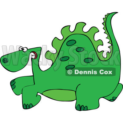 Clipart Green Scared Dinosaur - Royalty Free Vector Illustration © djart #1111983