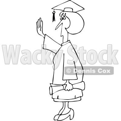 Clipart Outlined Female College Graduate Holding Her Hand Up - Royalty Free Vector Illustration © djart #1111987