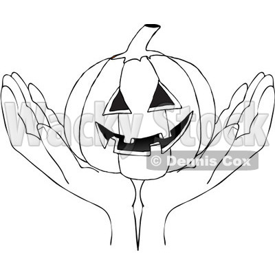 Clipart Outlined Hands Holding A Carved Halloween Jackolantern Pumpkin - Royalty Free Vector Illustration © djart #1112773