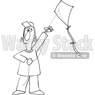 Clipart Outlined Guy Flying A Kite - Royalty Free Vector Illustration © djart #1112781