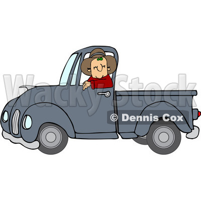 Clipart Cowboy Driving A Blue Pickup Truck - Royalty Free Vector Illustration © djart #1112784