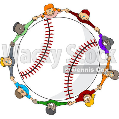 Clipart Diverse Kids Holding Hands Around A Baseball - Royalty Free Vector Illustration © djart #1112787