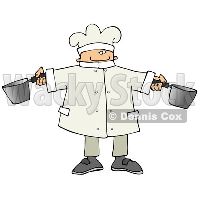 Male Chef Holding Two Pots in a Kitchen Clipart Picture © djart #11139