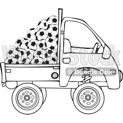 Clipart Outlined Kei Truck With Soccer Balls - Royalty Free Vector Illustration © djart #1114219