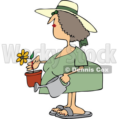 Clipart Woman Holding A Potted Flower And Watering Can - Royalty Free Vector Illustration © djart #1114224