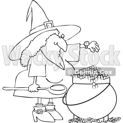 Clipart Outlined Witch Checking Her Watch While Making A Spell In Her Cauldron - Royalty Free Vector Illustration © djart #1115113