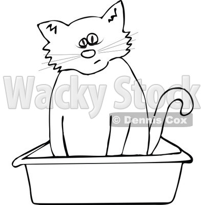 Clipart Outlined Cat Using A Kitty Litter Box - Royalty Free Vector Illustration © djart #1115117