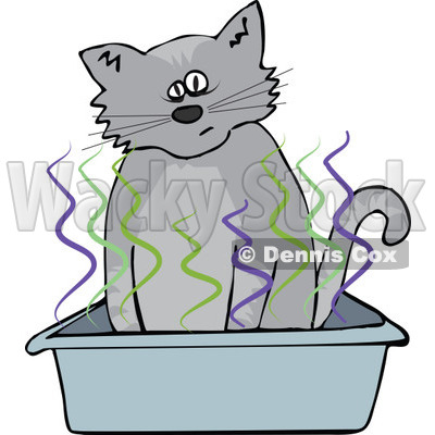 Clipart Cat Using A Stinky Kitty Litter Box - Royalty Free Vector Illustration © djart #1115118