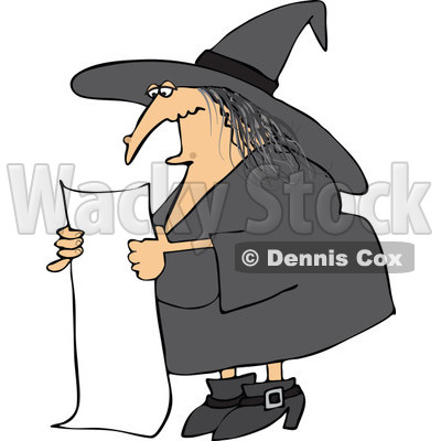 Clipart Bad Witch Reading A Long List Of Spell Ingredients - Royalty Free Vector Illustration © djart #1115467