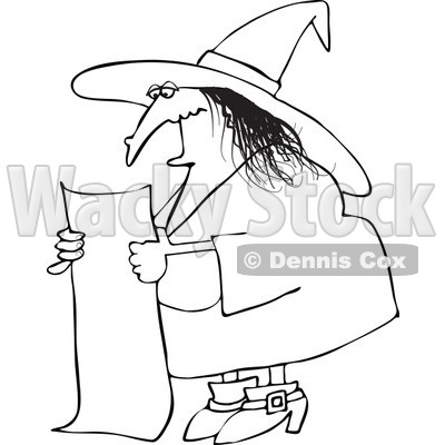 Clipart Outlined Evil Witch Reading A Long List Of Spell Ingredients - Royalty Free Vector Illustration © djart #1115468