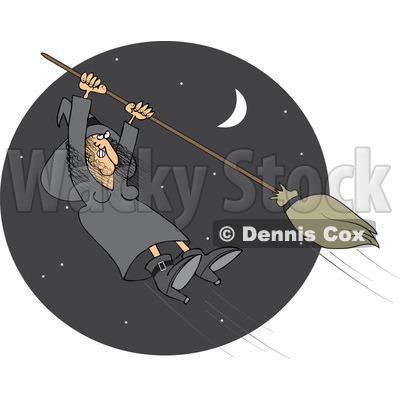 Clipart Halloween Witch Hanging Onto A Flying Broom In A Night Sky - Royalty Free Vector Illustration © djart #1115681