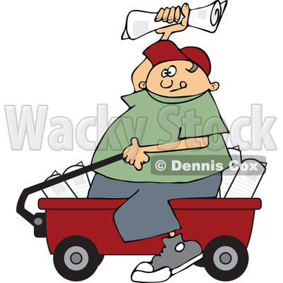 Clipart Paper Boy Sitting In A Wagon And Tossing Newspapers - Royalty Free Vector Illustration © djart #1115686