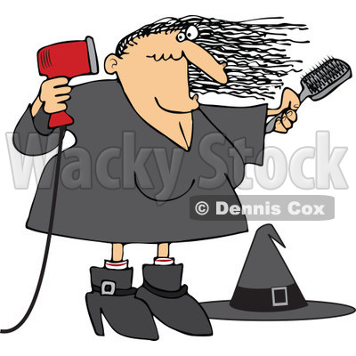 Clipart Halloween Witch Blow Drying Her Hair - Royalty Free Vector Illustration © djart #1115781