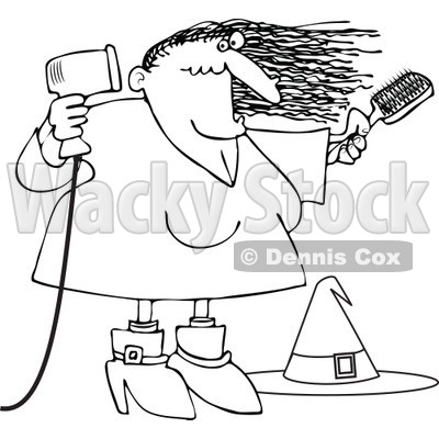 Clipart Outlined Halloween Witch Blow Drying Her Hair - Royalty Free Vector Illustration © djart #1115782