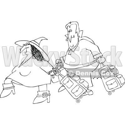 Clipart Of An Outlined Traveling Halloween Witch And Vampire With Luggage - Royalty Free Vector Illustration © djart #1116710