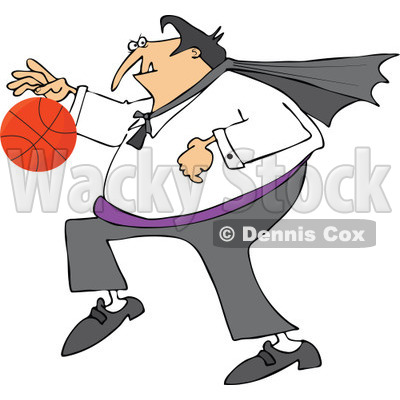 Clipart Of A Sporty Halloween Vampire Playing Basketball - Royalty Free Vector Illustration © djart #1116720