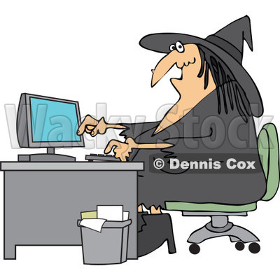 office desk clipart. cartoon of a halloween vampire using computer at an office desk - royalty free vector clipart