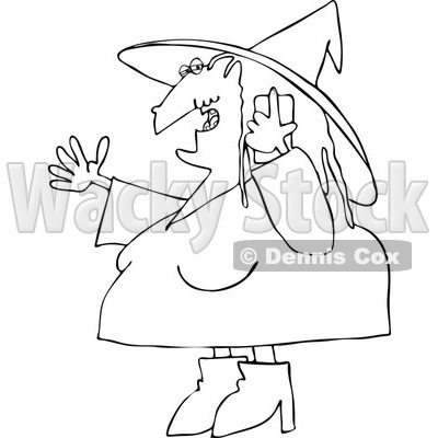 Cartoon Of An Outlined Halloween Witch Talking On A Cell Phone - Royalty Free Vector Clipart © djart #1119528