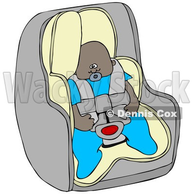 Cartoon Of An African American Baby Boy In A Car Seat - Royalty Free Clipart © djart #1119534