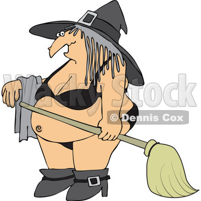 Cartoon Of A Halloween Witch In A Bikini - Royalty Free Vector Clipart © djart #1119539