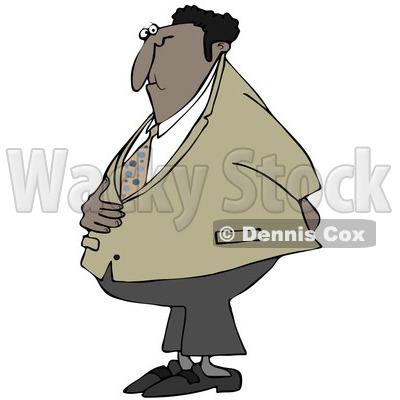 Cartoon Of A Black Businessman Holding His Stomach And Behind - Royalty Free Clipart © djart #1121978
