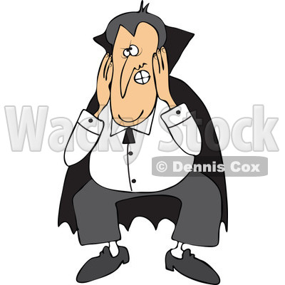 Cartoon Of A Halloween Vampire Covering His Ears - Royalty Free Vector Clipart © djart #1121984
