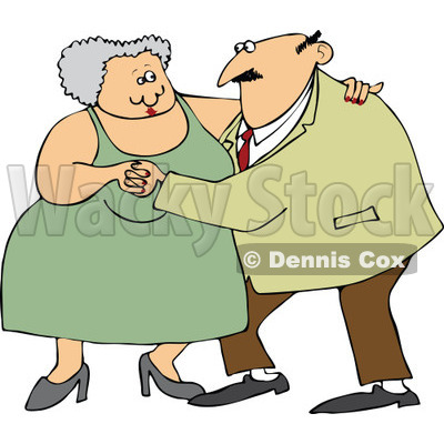 Cartoon Of A Chubby Old Couple Dancing - Royalty Free Vector Clipart © djart #1121987