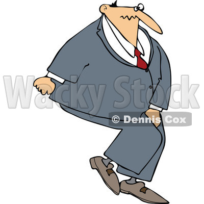 Cartoon Of A Businessman Needing To Use The Restroom - Royalty Free Vector Clipart © djart #1123796