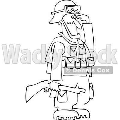 Cartoon Of An Outlined Army Soldier Holding A Gun And Saluting - Royalty Free Vector Clipart © djart #1125276