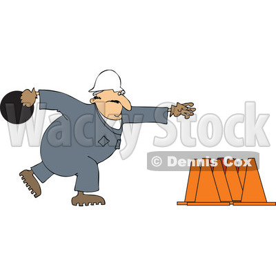 Cartoon Of A Worker Bowling For Construction Cones - Royalty Free Vector Clipart © djart #1126029