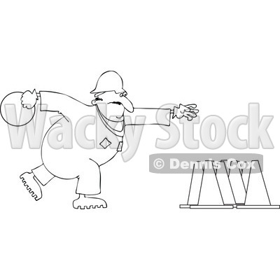 Cartoon Of An Outlined Worker Bowling For Construction Cones - Royalty Free Vector Clipart © djart #1126030