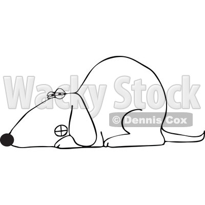 Of An Outlined Growling Dog Laying Down - Royalty Free Vector ...