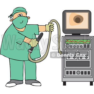 Cartoon Of A Proctologist Doctor With Colonoscopy Equipment - Royalty Free Vector Clipart © djart #1126797