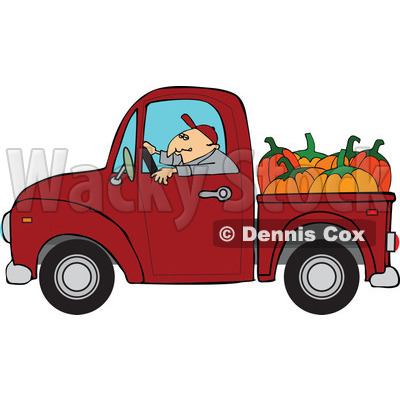 Cartoon Of A Farmer Driving A Truck With Pumpkins In The Bed - Royalty Free Vector Clipart © djart #1127052
