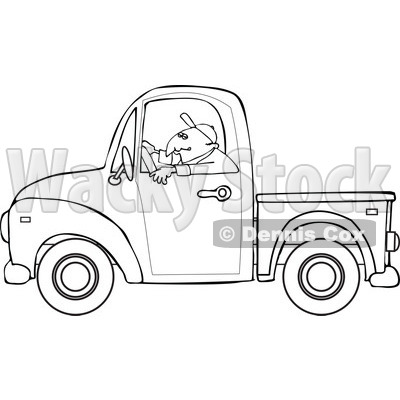 Cartoon Of An Outlined Worker Driving A Truck Royalty