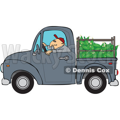 Cartoon Of A Farmer Driving A Truck With Corn In The Bed - Royalty Free Vector Clipart © djart #1127095