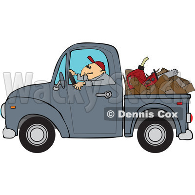 Cartoon Of A Worker Driving A Truck With Firewood Gasoline And A Saw In The Bed - Royalty Free Vector Clipart © djart #1127096
