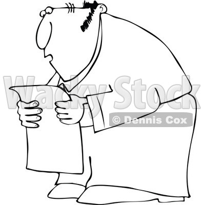 Cartoon Of An Outlined Chubby Man Reading A Newspaper In Shock - Royalty Free Vector Clipart © djart #1127099