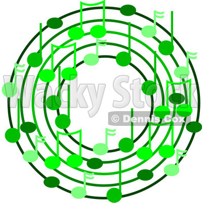 Cartoon Of A Ring Or Wreath Of Green Music Notes - Royalty Free Vector Clipart © djart #1127116