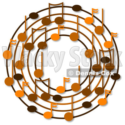 Cartoon Of A Ring Or Wreath Of Brown Music Notes With Shadows - Royalty Free Clipart © djart #1127118