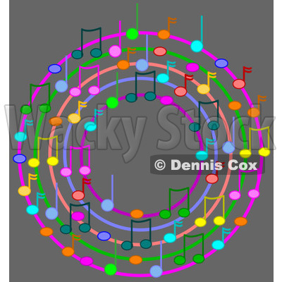 Cartoon Of A Ring Or Wreath Of Colorful Music Notes On Gray - Royalty Free Vector Clipart © djart #1127124