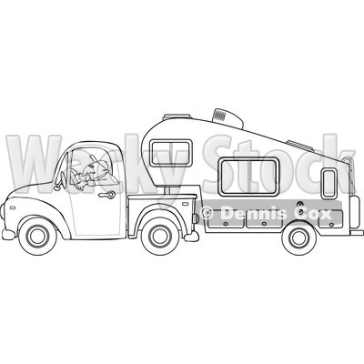 Cartoon Of An Outlined Man Driving A Pickup With A 5th Wheel Camper - Royalty Free Vector Clipart © djart #1127734