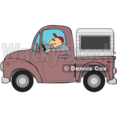 Cartoon Of A Man Driving A Pickup Truck With A Sleeper Or Canopy - Royalty Free Vector Clipart © djart #1127737