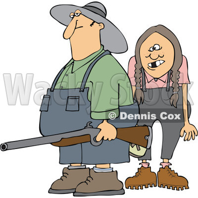 Cartoon Of A Redneck Hillbilly Man And Woman With A Shotgun - Royalty Free Vector Clipart © djart #1128707