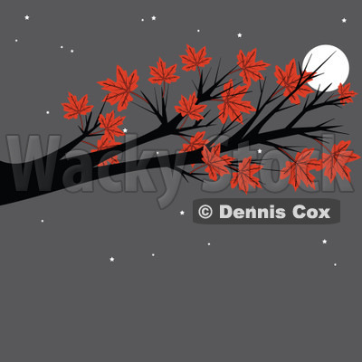 Cartoon Of An Autumn Maple Tree Branch Against A Full Moon And Gray Night Sky - Royalty Free Vector Clipart © djart #1129164